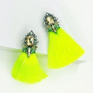 CLOSET REHAB Jewelry - Crystal and Neon Tassel Earrings